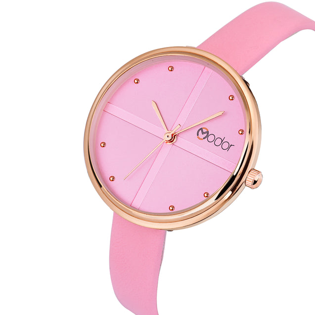 Modor Classic Charms Pink Strap Analog Watch  - For Women