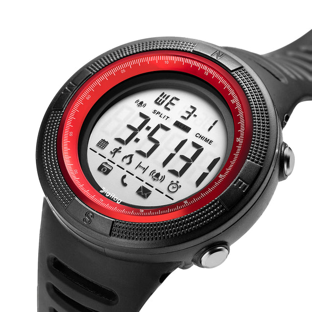 Digilog Wind Breaker Activewear Black & Red Multi Function Watch For Men & Boys  (Day, Date, Alarm, Backlight, Stopwatch & more)