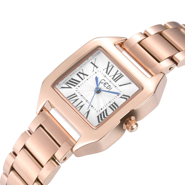 Gedi Boxed Out White & Rose Gold Luxury Watch For Women & Girls