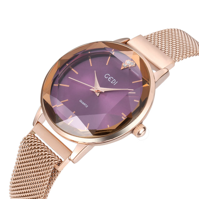 Gedi Sparkling Diamond Cut Purple Dial Rose Gold Magnetic Strap Luxury Watch For Women & Girls