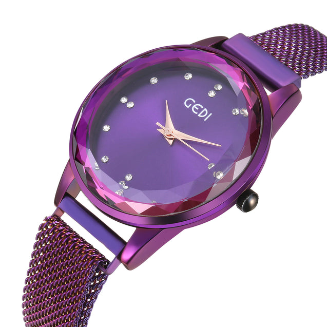 Gedi Sapphire Cut Glass Purple Magnetic Strap Luxury Watch For Women & Girls