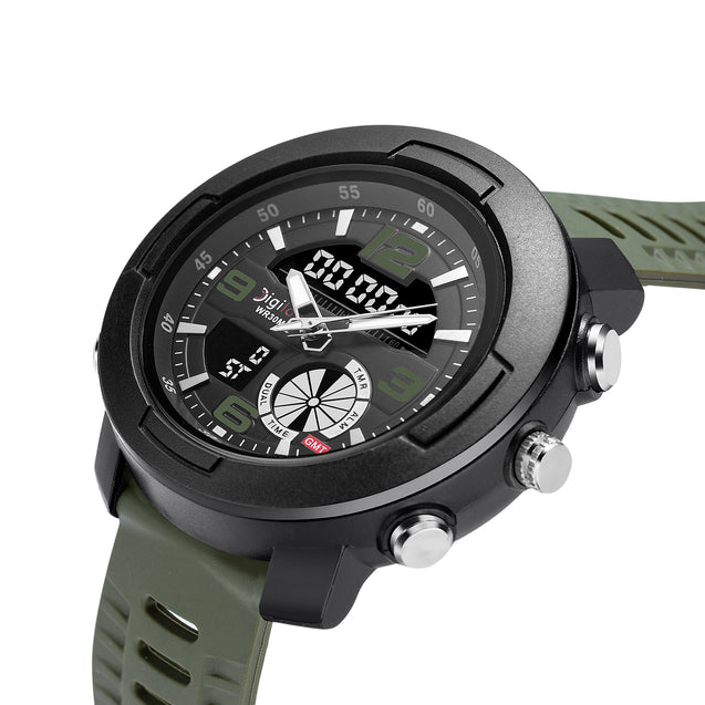 Digilog Wing Commander's Military Green Analog-Digital Dual Display Multi Function Watch For Men & Boys