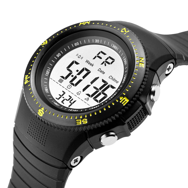 Digilog Hyper Sports Activewear Black & Yellow Digital Multi Function Watch For Men & Boys (Day, Date, Alarm, Backlight, Stopwatch & more)