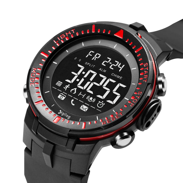 Digilog Sharp Sports Activewear Black & Red Digital Multi Function Watch For Men & Boys (Day, Date, Alarm, Backlight, Stopwatch & more)