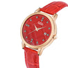 Gedi Sparkling Diamond Cut Date Display Red Strap Women's Watch