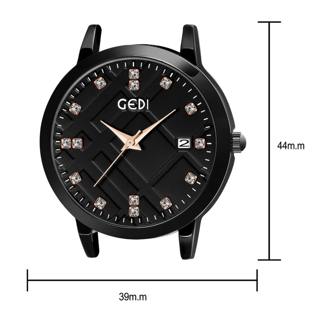 Gedi Sparkling Diamond Cut Date Display Black Strap Women's Watch
