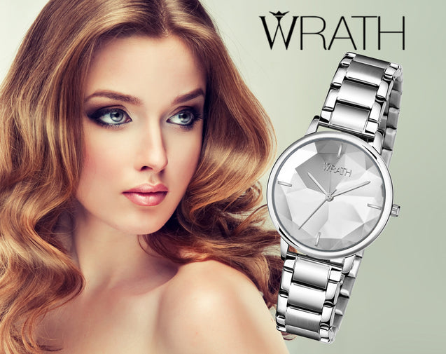 Wrath Super Model's Serene Silver Luxury Watch For Women & Girls.