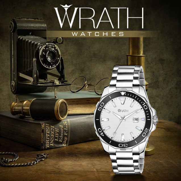 Wrath Emperor's Sapphire Silver-White Date Watch For Men.