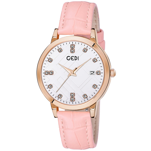 Gedi Sparkling Diamond Cut Date Display Pink Strap Women's Watch
