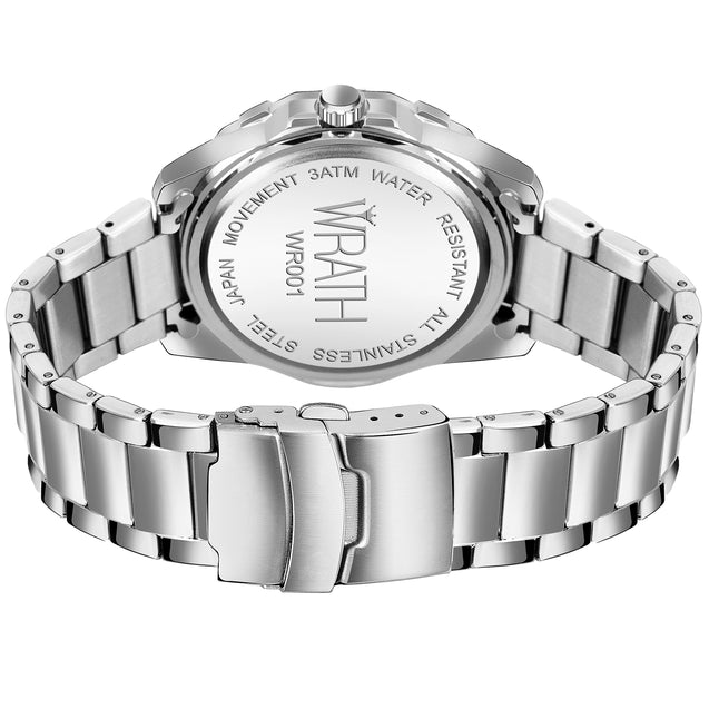 Wrath Emperor's Sapphire Silver-Black Luxury Date Watch For Men.