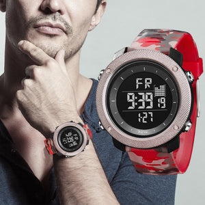 Digilog Special Ops Red Camouflage Silver Dial Digital Multi Function Watch For Men & Boys