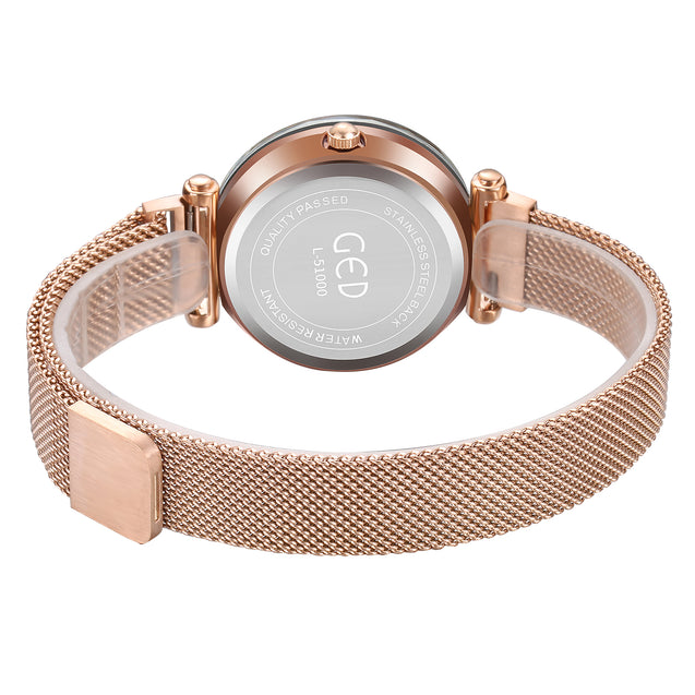 Gedi Classic Rose Gold Magnetic Strap Date Display Luxury Watch For Women & Girls