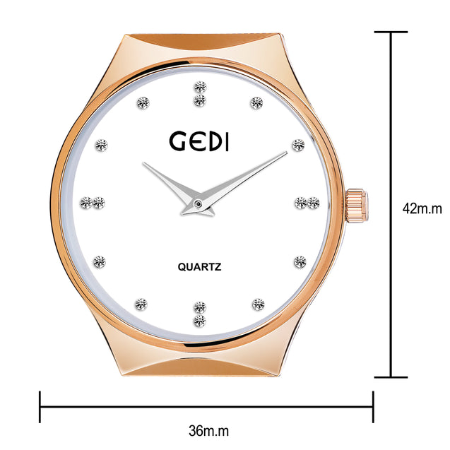 Gedi Limited Edition Rose Gold Studded Luxury Watch For Women & Girls