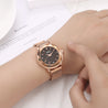Gedi Princess Cut Rose Gold Magnetic Strap Luxury Watch For Women & Girls