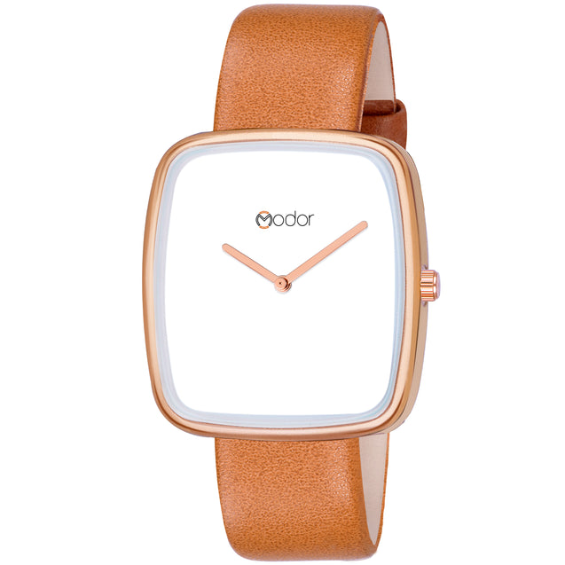 Modor Stunning Looks Brown Strap Analog Watch  - For Women