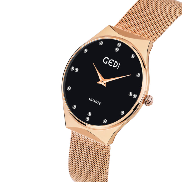 Gedi Limited Edition Rose Gold  & Black Studded Luxury Watch For Women & Girls