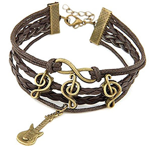 Addic Brown Leather Multiband Sound Of Music Bracelet For Unisex.
