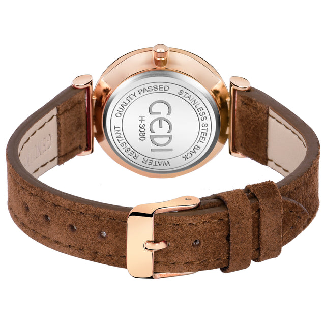 Gedi Silent Charms Classy Brown Strap & Rose Gold Luxury Watch For Women & Girls