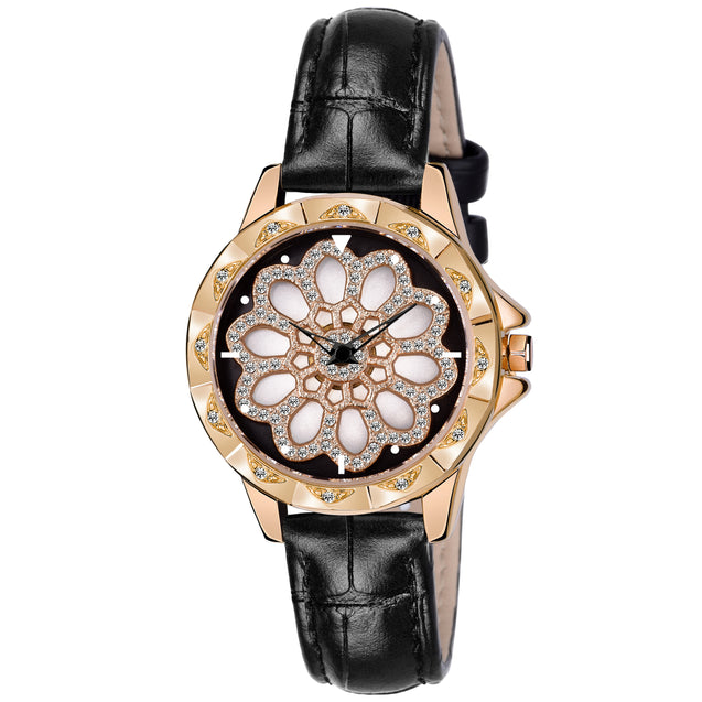Gedi Floral Bling Black Strap Crystal Studded Luxury Watch For Women & Girls