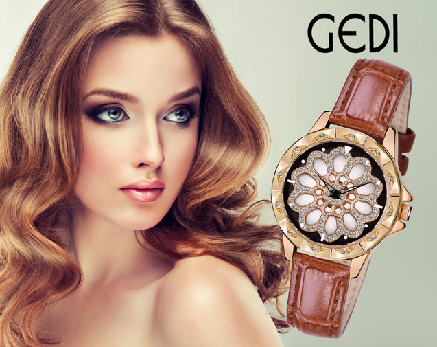 Gedi Floral Bling Brown Strap Crystal Studded Luxury Watch For Women & Girls