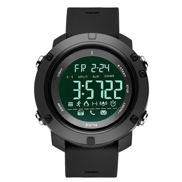 Digilog Future Midnight Black Activewear Classy Digital Multi Function Watch For Men & Boys (Day, Date, Alarm, Backlight, Stopwatch & more)