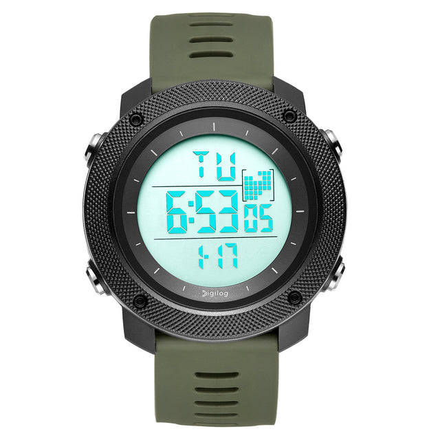 Digilog Fighter Green Digital Black Dial Multi Function Watch For Men & Boys