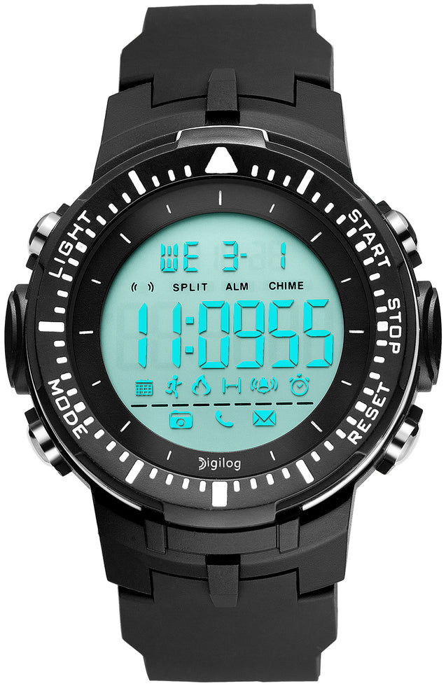 Digilog Sharp Sports Activewear Black & White Digital Multi Function Watch For Men & Boys (Day, Date, Alarm, Backlight, Stopwatch & more)