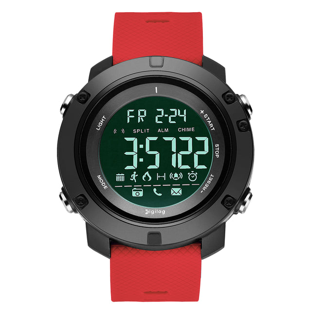 Digilog Future Bold Red Activewear Classy Digital Multi Function Watch For Men & Boys (Day, Date, Alarm, Backlight, Stopwatch & more)
