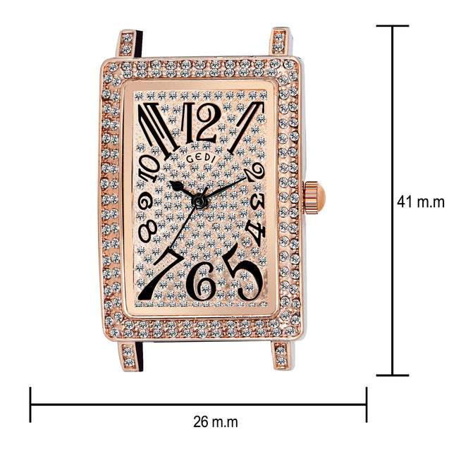 Gedi Retro Bling Black Belt Studded Dial Luxury Watch For Women & Girls