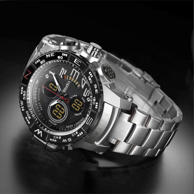 Wrath Luxury Singularity Analog & Digital Silver Luxury Metal Chain Wristwatch for Men & Boys.