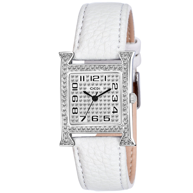 Gedi Charming Bling White Belt Crystal Studded Luxury Watch For Women & Girls