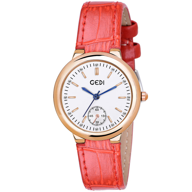 Gedi Minimal Charm Round Dial Red Belt Luxury Watch For Women & Girls