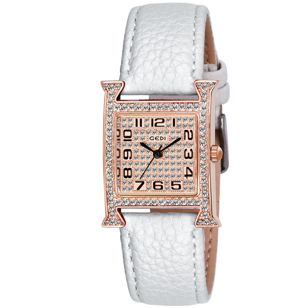 Gedi Charming Bling White Rose Gold Studded Luxury Watch For Women & Girls