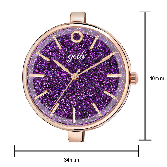 Gedi Diva's Choice Purple Dial Classy Rose Gold Chain Luxury Watch For Women & Girls