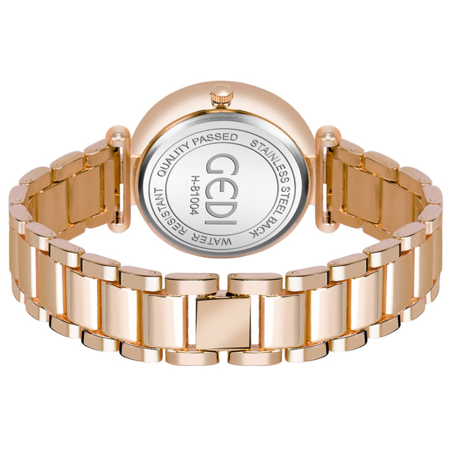 Gedi Red & Black Crystal Dial Gold Luxury Watch For Women & Girls