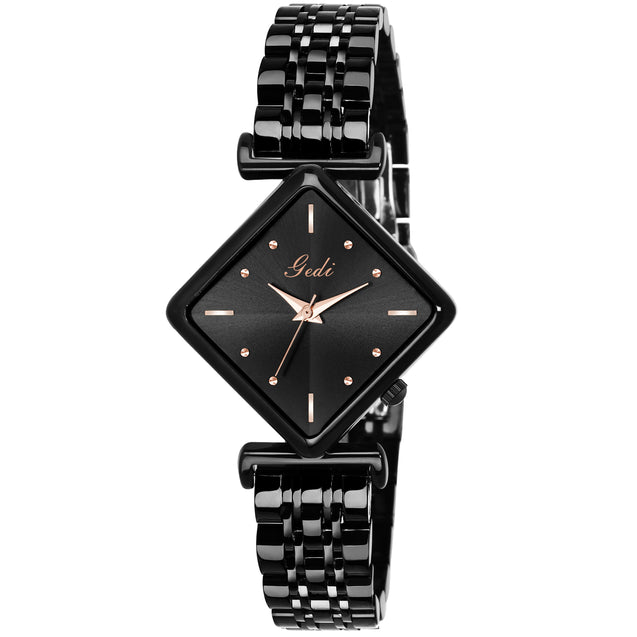 Gedi Black Diamond Rectangle Studded Luxury Watch For Women & Girls