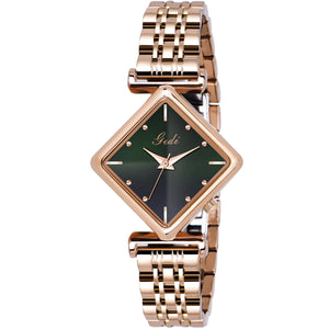 Gedi Rose Gold Diamond Rectangle Studded Luxury Watch For Women & Girls