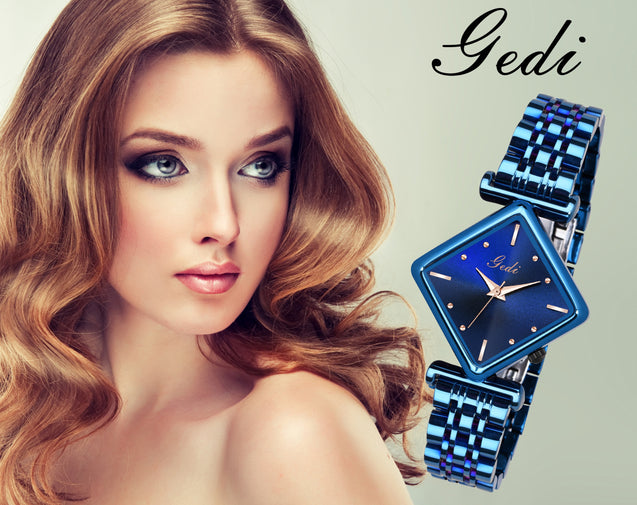 Gedi Bue Diamond Rectangle Studded Luxury Watch For Women & Girls
