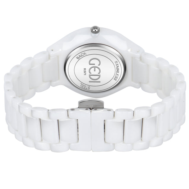 Gedi Pearl White Classy Ceramic Luxury Watch For Women & Girls