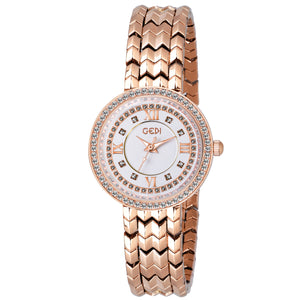 Gedi Grand Dial Cascade Chain Rose Gold Luxury Watch For Women & Girls