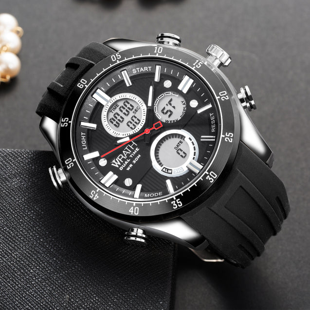 Wrath Jet Black Analog & Digital Luxury Watch for Men & Boys (1623_Black).