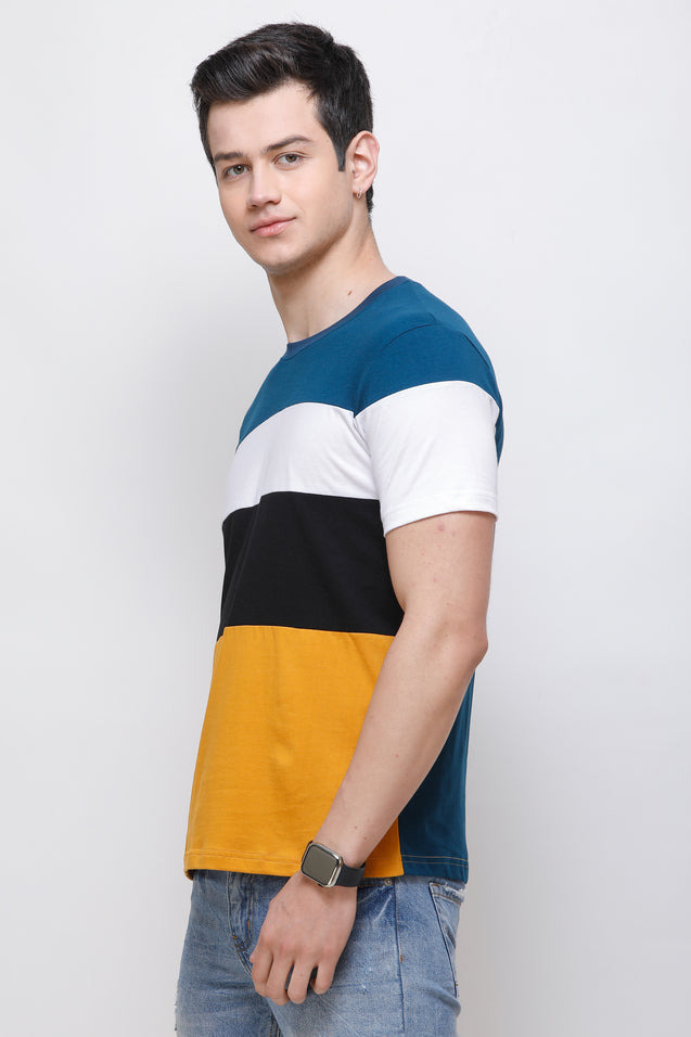 Wrath Four Stripes Yellow T-Shirt for Men & Boys