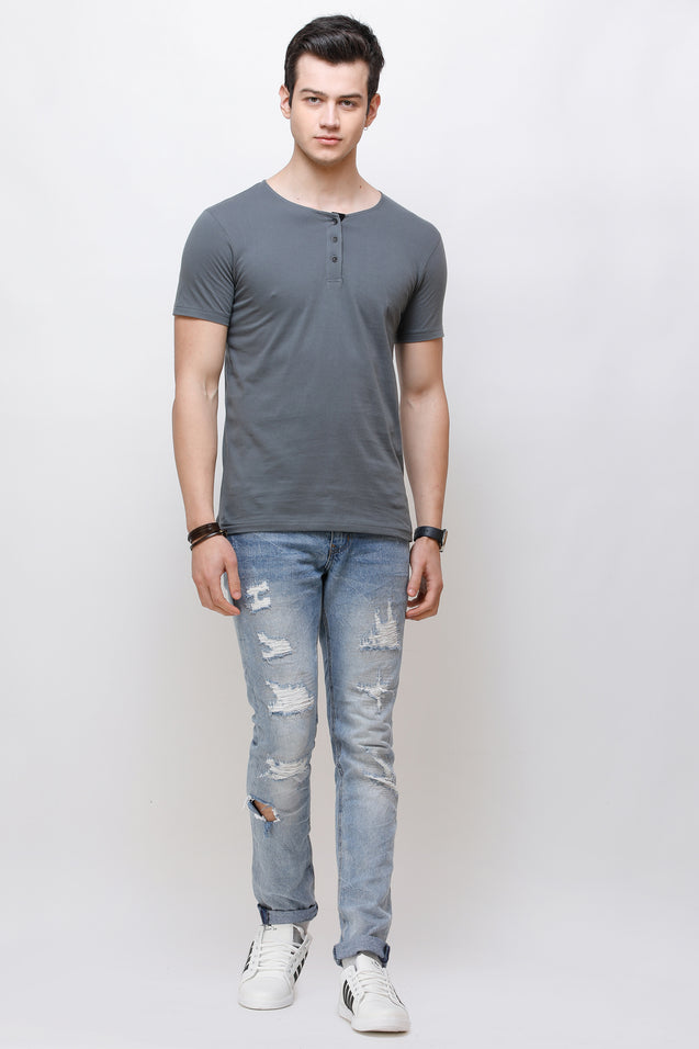 Wrath Buttoned Basics Gray T-Shirt for Men & Boys