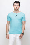 Wrath Buttoned Basics Turquoise T-Shirt for Men & Boys