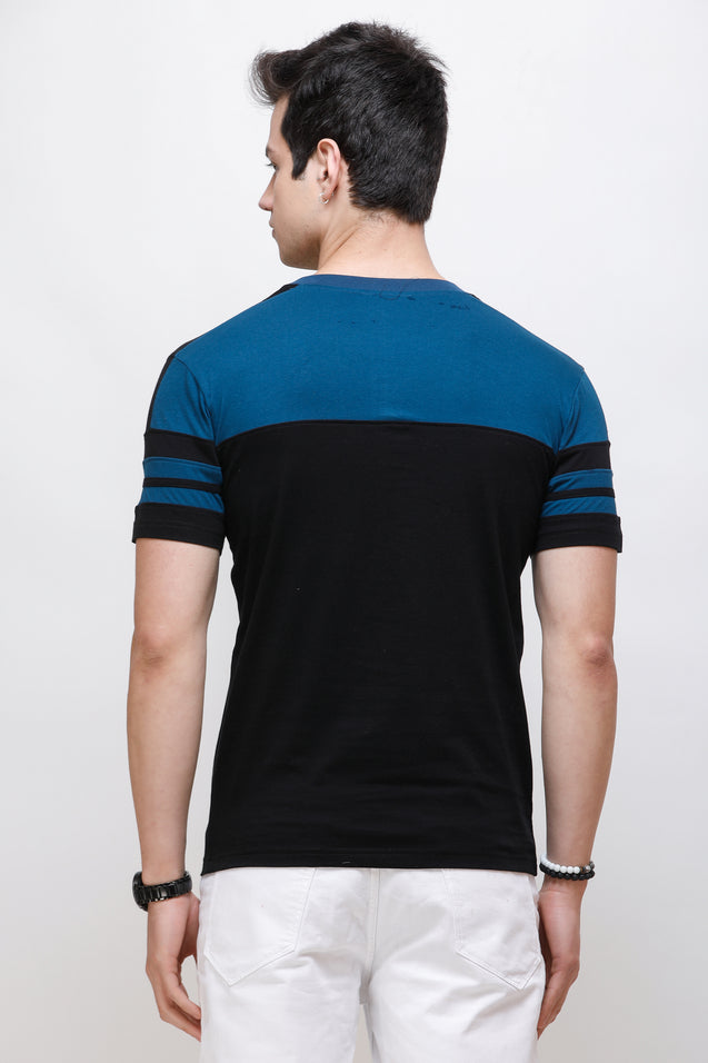 Wrath Sporty Casuals Teal & Black T-Shirt for Men & Boys