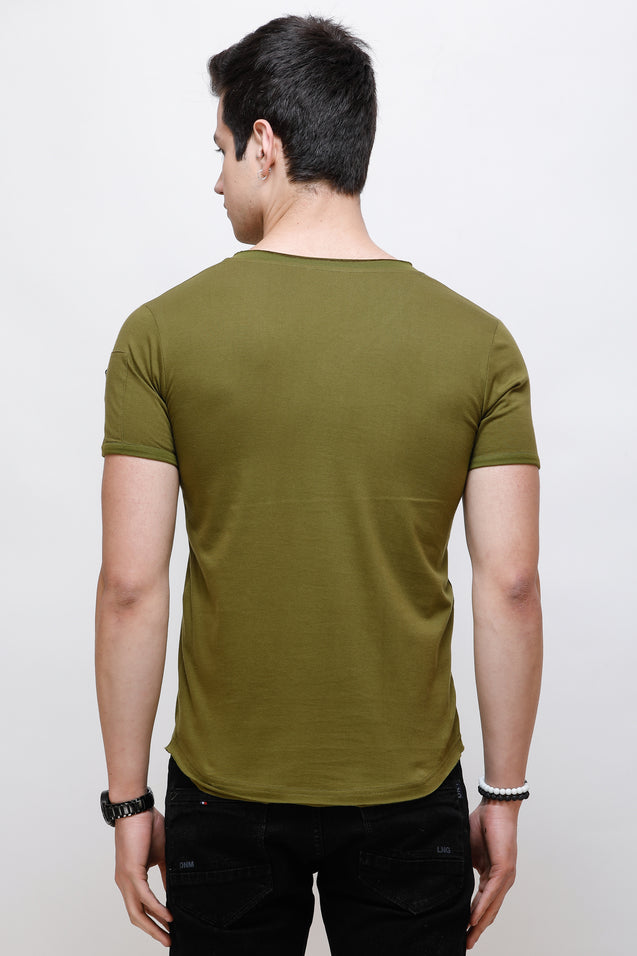 Wrath Zipped Life Olive Green T-Shirt For Men & Boys