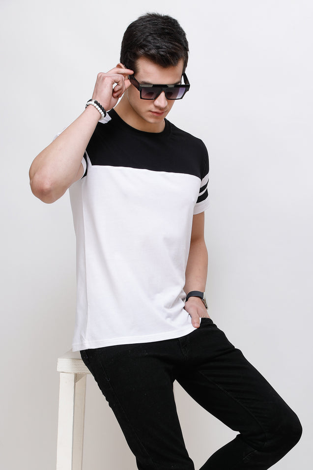 Wrath Sporty Casuals White & Black T-Shirt for Men & Boys
