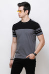 Wrath Sporty Casuals Gray & Black T-Shirt for Men & Boys