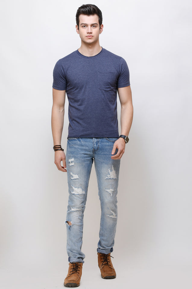 Wrath Minimal Couture Melange Blue T-Shirt For Men & Boys