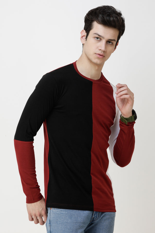 Wrath Color Block Men Round Neck Maroon, Black, White T-Shirt
